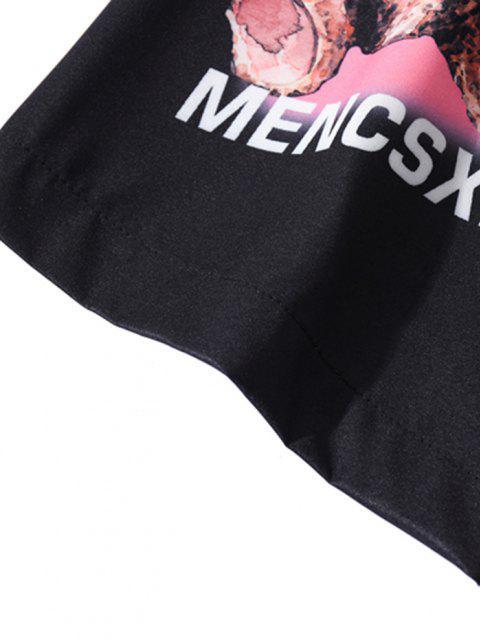 Bär Buchstabe Muster Kurzarm Hemd - Schwarz M Mobile