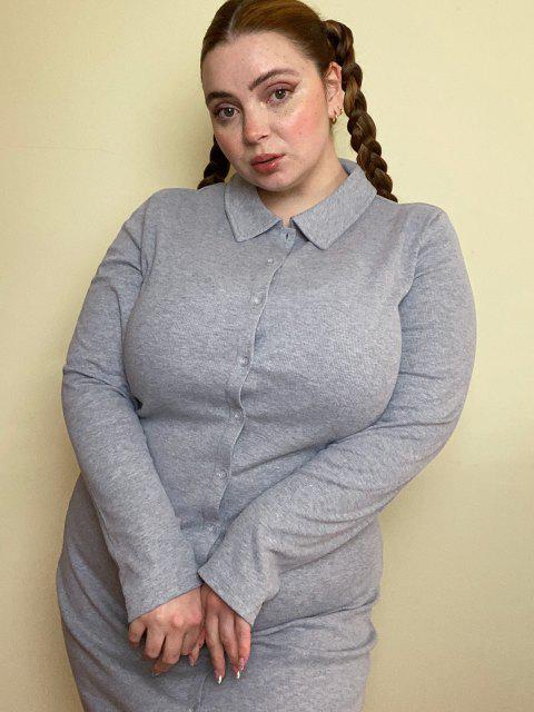 fancy Plus Size Ribbed Button Through Sheath Dress - LIGHT GRAY 2XL Mobile