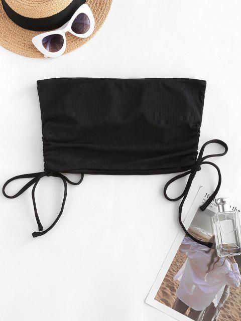 hot ZAFUL Ribbed Cinched Bandeau Swim Top - BLACK M Mobile
