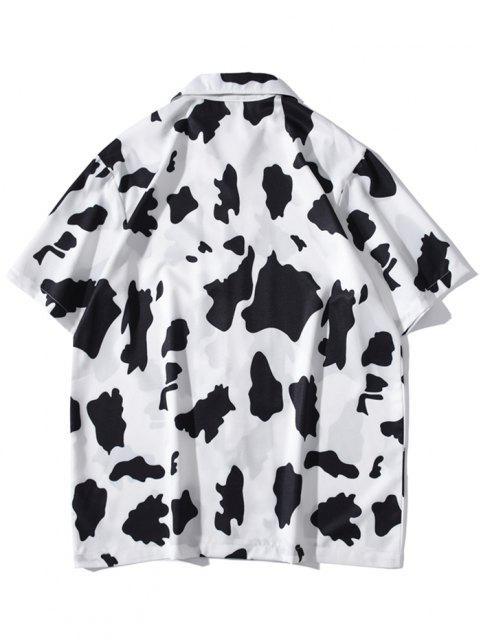 sale Cow Print Short Sleeve Shirt - WHITE L Mobile