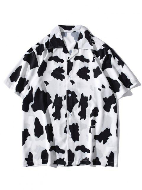buy Cow Print Short Sleeve Shirt - WHITE M Mobile