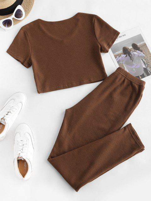 trendy Knit Crop Top and Tie Two Piece Pants Set - COFFEE S Mobile