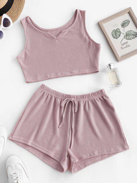 new Knit V Notch Tie Two Piece Shorts Set - LIGHT PINK S Mobile