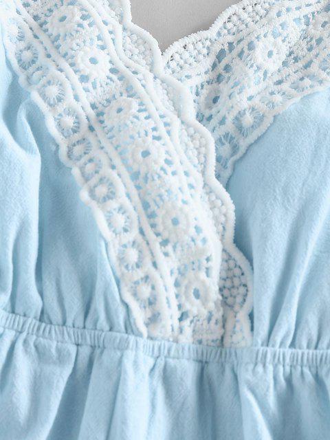 online ZAFUL Criss Cross Crochet Insert Backless Loose Romper - LIGHT BLUE M Mobile