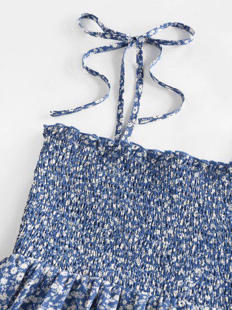 ZAFUL Robe Fleurie Imprimée à Epaule Nouée à Volants - Bleu L Mobile