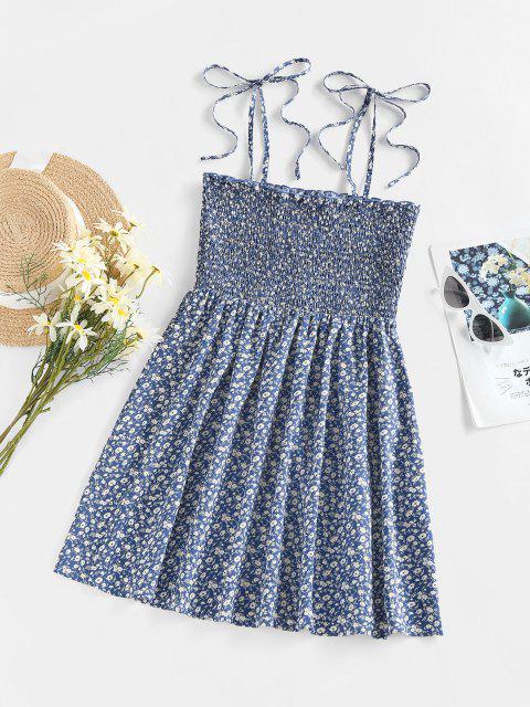 ZAFUL Robe Fleurie Imprimée à Epaule Nouée à Volants - Bleu XL Mobile