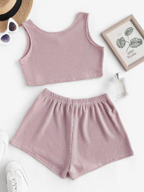 outfit Knit V Notch Tie Two Piece Shorts Set - LIGHT PINK M Mobile