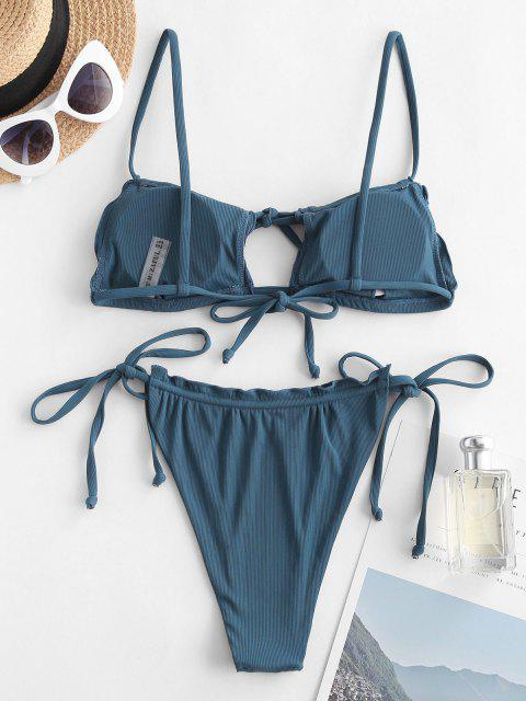 affordable ZAFUL Ribbed Frilled Cutout Drawstring String Bikini Swimwear - BLUE S Mobile