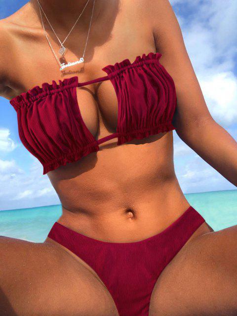 trendy ZAFUL Ribbed Tie Cutout Bandeau Bikini Swimsuit - RED WINE S Mobile