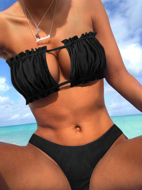 affordable ZAFUL Ribbed Tie Cutout Bandeau Bikini Swimsuit - BLACK M Mobile