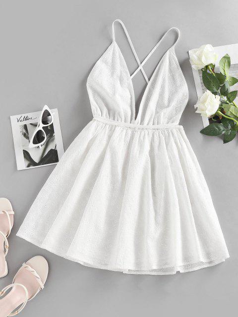 ZAFUL Broderie Anglaise Kreuzes und Queres Rückenfreies Minikleid - Weiß M Mobile