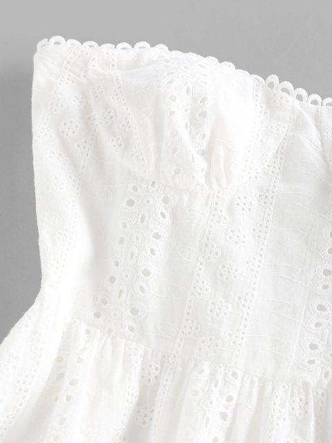 ZAFUL Broderie Anglaise Trägerloses Minikleid - Weiß XL Mobile
