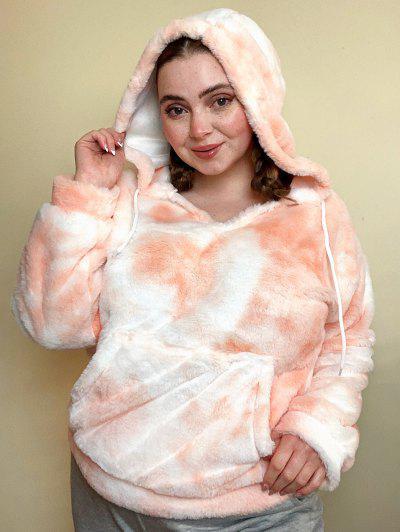 Plus Size Tie Dye Fluffy Faux Fur Front Pocket Hoodie - Light Orange 4x