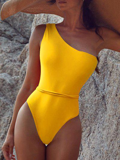Belted One Shoulder One-piece Swimsuit - Bright Yellow L
