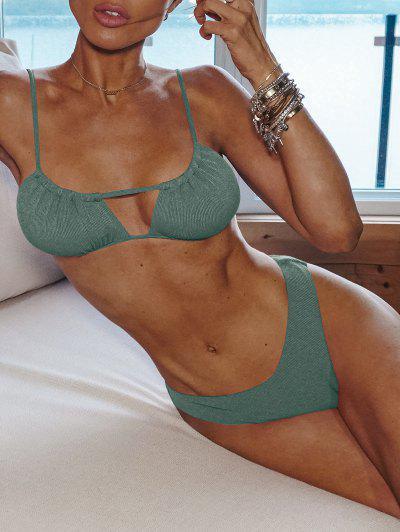 ZAFUL Ribbed High Cut Ruched Tie Bikini Swimwear - Sea Turtle Green M