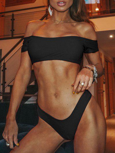 Lettuce Trim Off Shoulder Thong Bikini Set - Black S