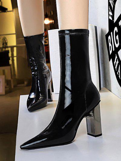 Glossy Patent Leather Metallic Block Heel Mid Calf Boots - Black Eu 38