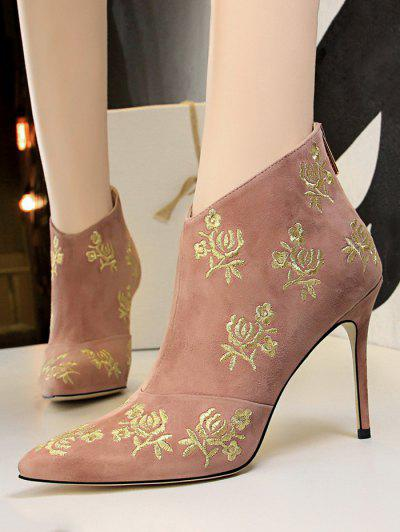 Retro Golden Flower Embroidered Pointed Toe Suede Ankle Boot - Pink Eu 38