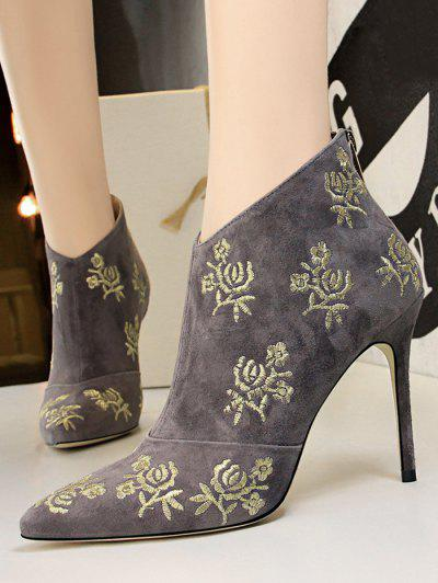 Retro Golden Flower Embroidered Pointed Toe Suede Ankle Boot - Gray Eu 40