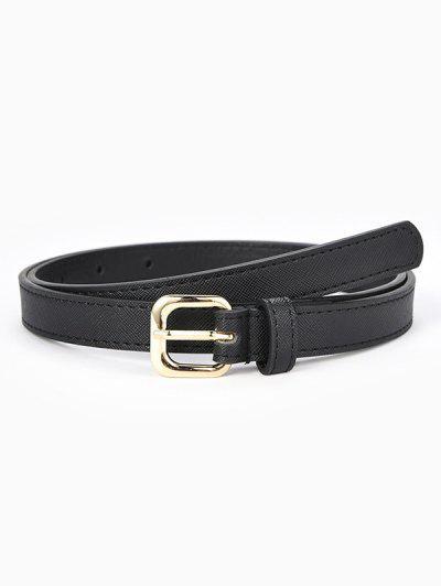 Textured Stitching Sleek Rectangle Metallic Pin Buckle Belt - Black