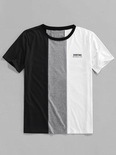 ZAFUL Letter Print Contrast Slogan T-shirt - Black M
