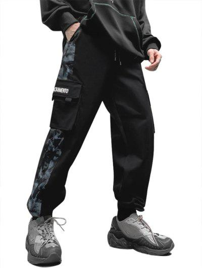 Letter Patch Panel Cargo Pants - Black M
