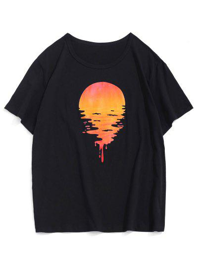 Camiseta De Mangas Cortas Con Estampado De Puesta De Sol - Negro Xs