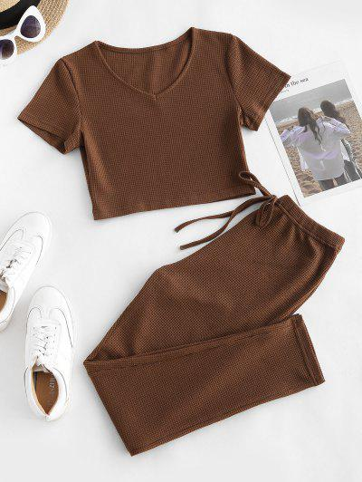 Knit Crop Top And Tie Two Piece Pants Set - Coffee M