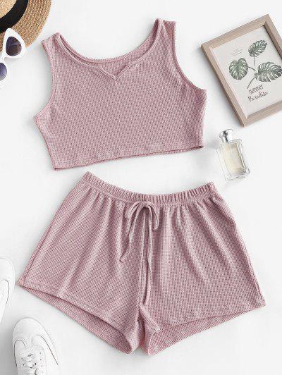 Knit V Notch Tie Two Piece Shorts Set - Light Pink S