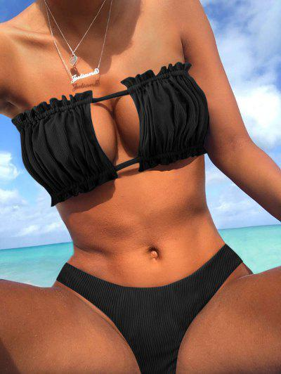 ZAFUL Ribbed Tie Cutout Bandeau Bikini Swimsuit - Black M