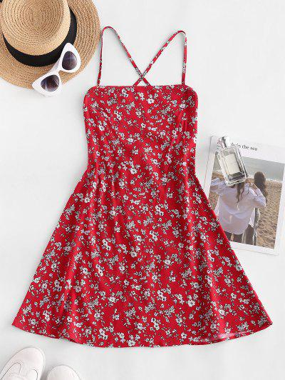Ditsy Floral Lace-up Summer Cami Dress - Red M