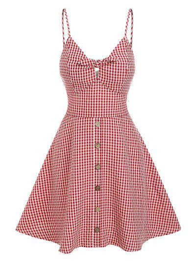 ZAFUL Gingham Knotted A Line Buttoned Cami Dress - Red S