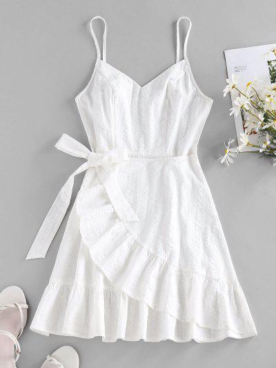 ZAFUL Robe Superposée à Bretelle Avec Nœud Papillon Ourlet à Volants - Blanc S