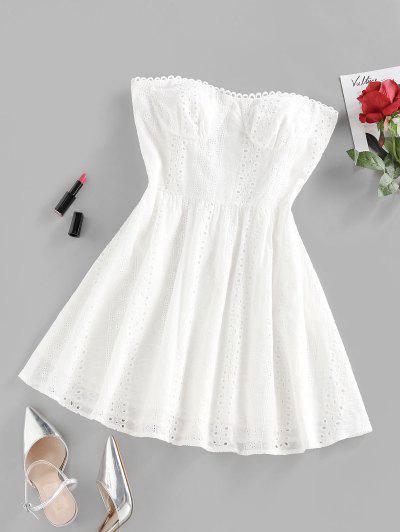 ZAFUL Mini Robe Broderie Anglaise Sans Bretelle - Blanc S