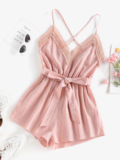 ZAFUL Criss Cross Crochet Insert Belted Loose Romper - Light Pink L