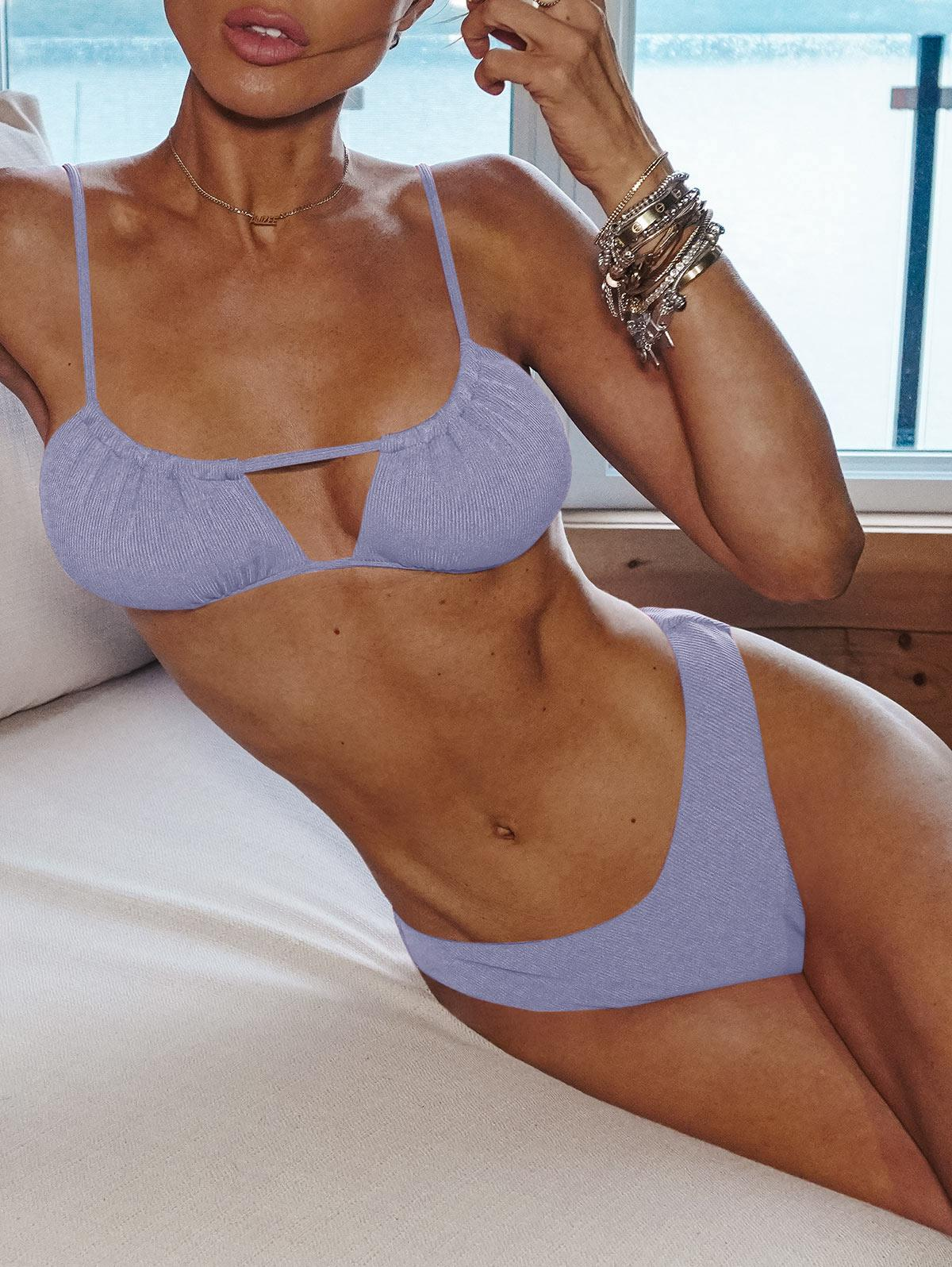 ZAFUL Ribbed High Cut Ruched Tie Bikini Swimwear
