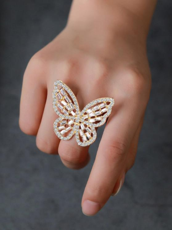 women Rhinestone Butterfly Hollow Open Ring - GOLDEN