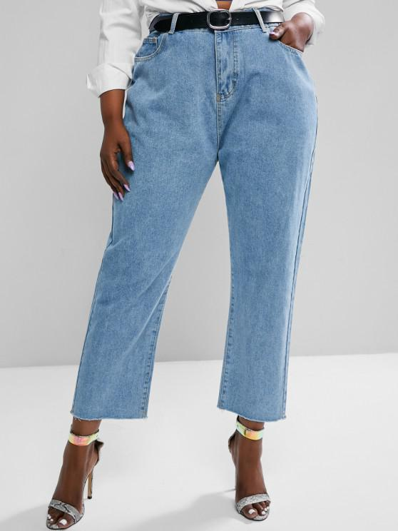 unique Plus Size Raw Hem Tapered Mom Jeans - LIGHT BLUE L