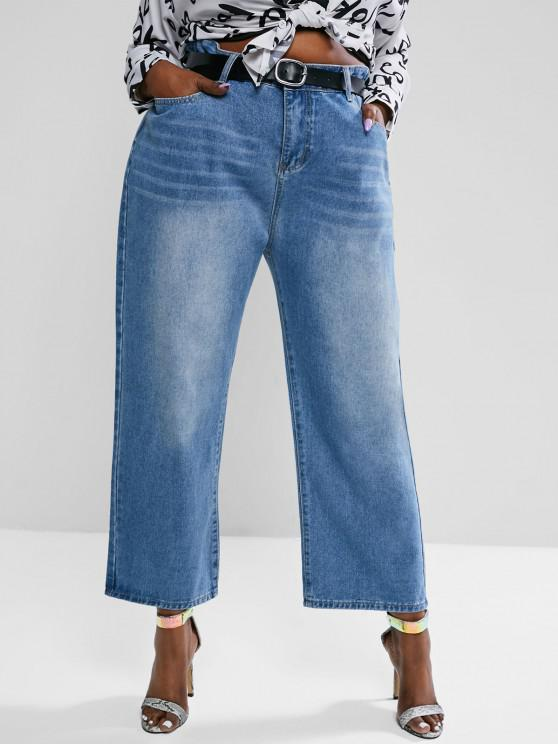 fashion Plus Size High Waisted Light Wash Straight Leg Jeans - BLUE 4XL