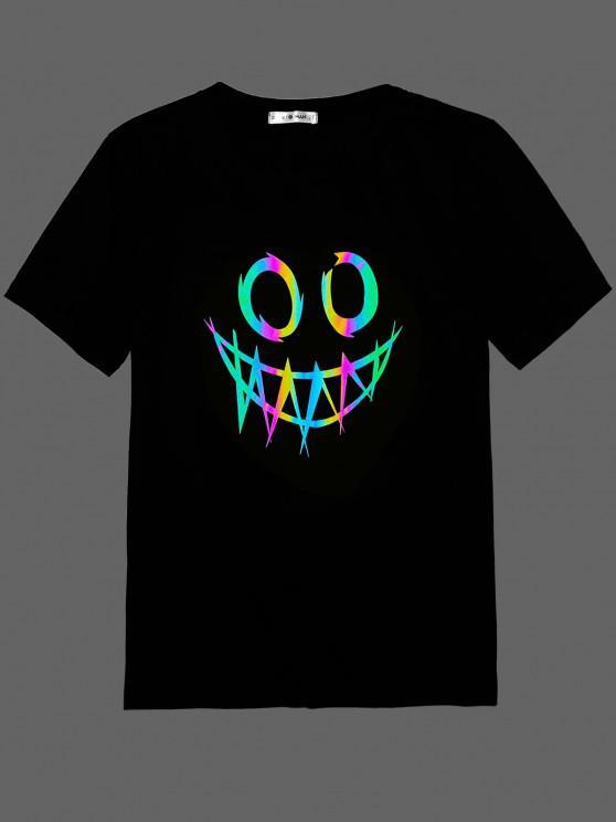 womens ZAFUL Face Print Reflective T-shirt - BLACK M