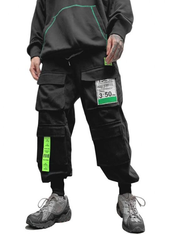 Multi-pocket Letter Patched Cargo Pants - أسود S