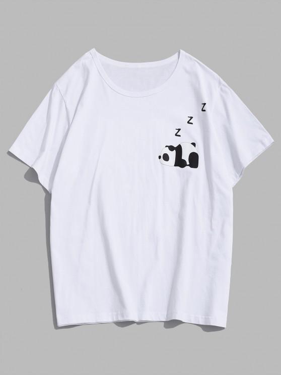 Cartoon Pandadruck Grafik T-Shirt - Weiß S