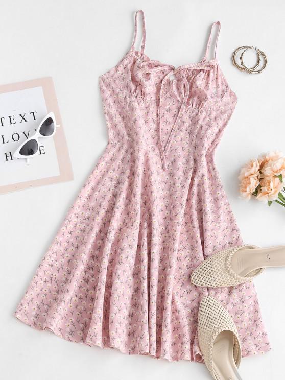 Flower Print Ruffle Bowknot Cupped Dress - وردي فاتح S