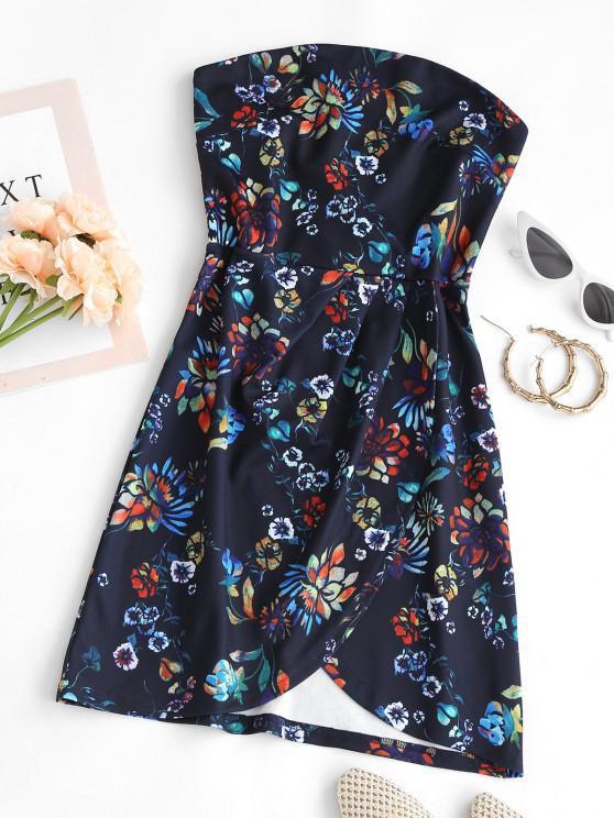 best Strapless Flower Print Overlap Mini Dress - DEEP BLUE XS