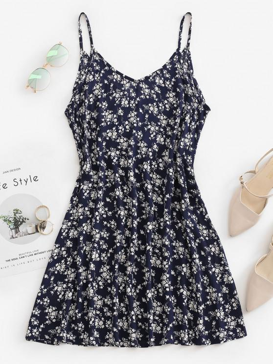 trendy Ditsy Floral Trapeze Cami Summer Dress - DEEP BLUE M