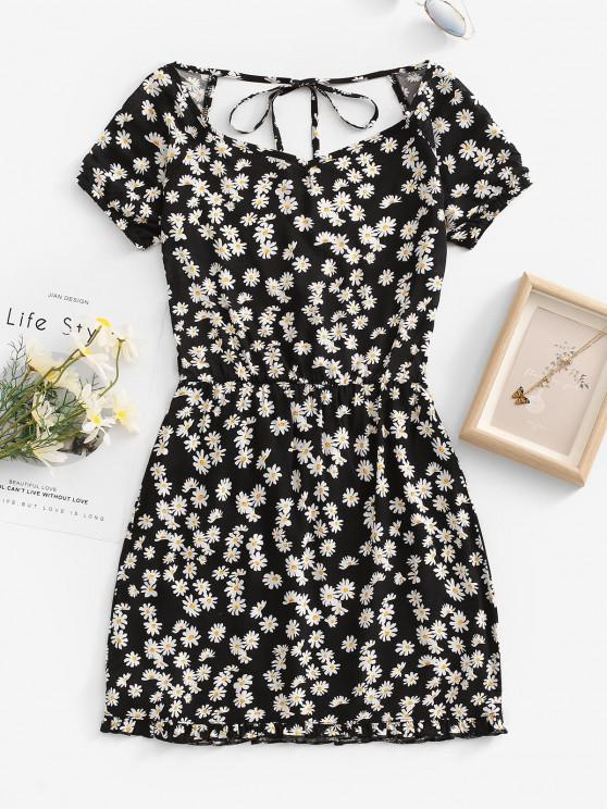 fashion Daisy Floral Cutout Backless Tied Dress - BLACK M