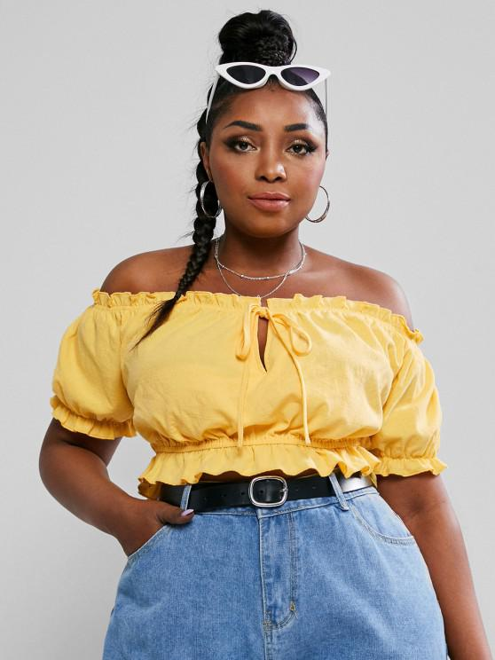 fancy ZAFUL Plus Size Off The Shoulder Tie Knot Crop Top - YELLOW XL
