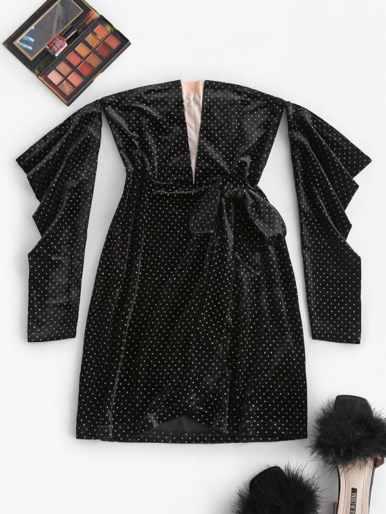 fashion Off Shoulder Velvet Glitter Mesh Panel Tie Dress - BLACK S