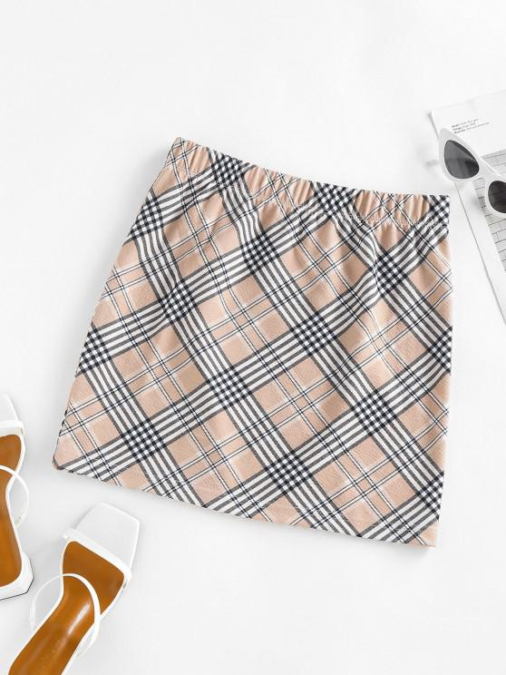 lady ZAFUL Plaid Elastic Waist Mini Skirt - LIGHT COFFEE XL