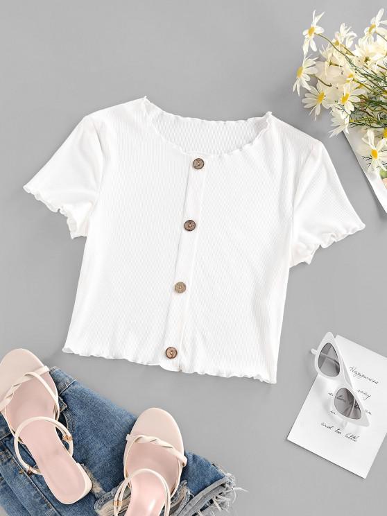 shops ZAFUL Ribbed Lettuce Trim Mock Button Crop T Shirt - WHITE S